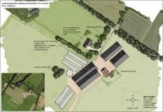 <h5>Landschappelijke inpassing Lochem</h5><p>Plankaart (onderdeel van rapport) landschappelijke inpassing ten behoeve van een nieuwe bedrijfswoning en uitbreiding van stallen binnen de gemeente Lochem.</p>