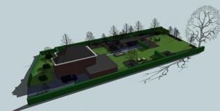<h5>3D visualisatie vogelvluchtperspectief tuin </h5><p>Fam. Ampting Groenlo</p>